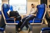 Young Man Sleeping In Train — Stock Photo