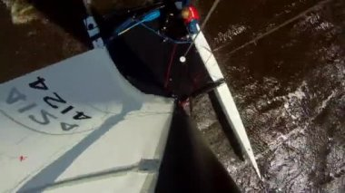 Catamaran capsizing — Stock Video
