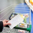 Shopping cart and groceries — Stock Photo
