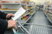 Supermarket shopping cart — Stock Photo