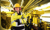 Engine room worker — Stock fotografie