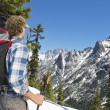 Hiker admiring the view — Stock Photo