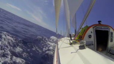 Racing yacht tacking upwind over the Atlantic Ocean — Stock Video