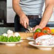 Midsection Of Man Cutting Vegetables — Stock Photo #30846951