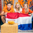 Curious Soccer Fans Watching Match At Home — Stock Photo