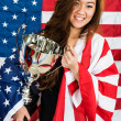 Sportswoman Holding Trophy — Stock Photo