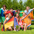 International Athletes With Various National Flags Celebrating  — Stock Photo
