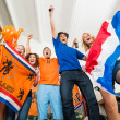 Excited Dutch sports fans — Stock Photo
