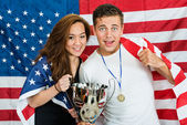 Athletes With Trophy And Medal — Stock Photo