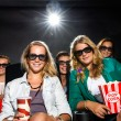Young Friends Watching 3D Movie In Theater — Photo