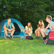 Friends on camping — Stock Photo