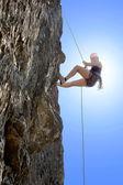 Woman Climbing Rock — Stock Photo