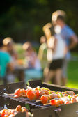 Skewers Grilling On Barbecue — Stockfoto