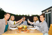 Friends Toasting Drinks At Table During Outdoor Party — Stock Photo