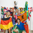 Successful Athletes With Various National Flags — Stock fotografie