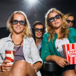Friends Watching 3D Movie In Theater — Stock Photo