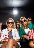 Young Friends Watching 3D Movie In Theater — Stock Photo