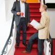 Businessmen Discussing On Steps — Stock Photo
