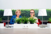 Confident Female Environmentalists Sitting At Desk — Stock Photo