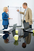 Management team at flip over board — Stock Photo