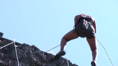 Abseiling Woman — Stock Video