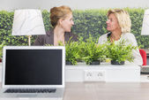 Woman talking in their workarea — Stock Photo
