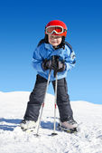 Boy on skis — Stock Photo