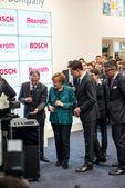 Angela Merkel during technology showcase tour — Stock Photo