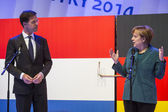 Mark Rutte and Angela Merkel opening Hanover Messe — Stock Photo