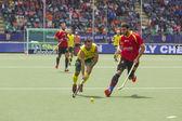 Australia beats Spain during the World Cup Hockey 2014 — Stockfoto