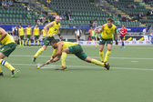 Australia beats Spain during the World Cup Hockey 2014 — Stock Photo