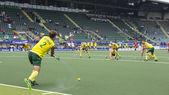 Australia beats Spain during the World Cup Hockey 2014 — Stock Photo