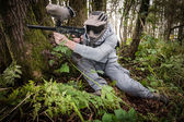 Paintball in the forest — Stock Photo