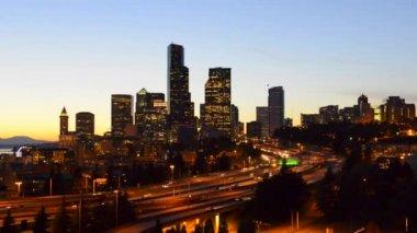 Seattle Skyline at dusk — Stock Video