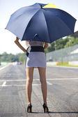 Garota de grade com guarda-chuva — Foto Stock