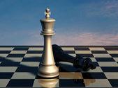 Schaken: einde van slag — Stockfoto
