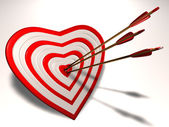 Heart shaped target with Cupid arrows in it. — Stock Photo