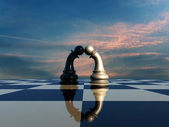 Two pawns before chess battle — Stock Photo