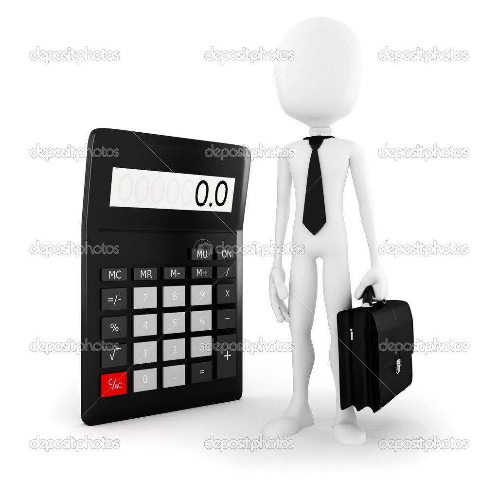 3d man business man standing near a big calculator over white background  Stock Photo #13052058