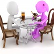 Stock Photo: 3d man couple restaurant dinner