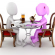 3d man couple restaurant dinner — Stock Photo