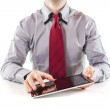 Young business man executive using a digital pc tablet — Stock Photo