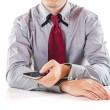 Close up of a business man using a mobile phone — Stock Photo #13643949