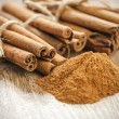 Royalty-Free Stock Photo: Cinnamon sticks and powder