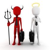 3d man businessman angel and demon — Stock Photo