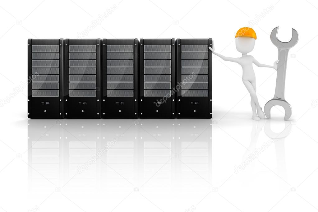 3d man and server, hardware mentenance  Stock Photo #19610667