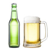 Bottle and bug with beer on white background — Stock Photo