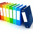 3d colorful dossiers folders on white background — Stock Photo