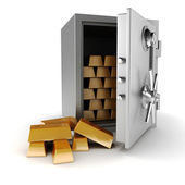 3d vault and gold bars on white background — Stock Photo