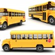 Stock Photo: 3d school bus on white background